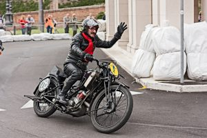 """""""Lugo, RA, Italy - September 30, 2012: biker riding an old racing motorcycle Scott TT at motorcycle festival """"""""Rombi di passione"""""""""""""""